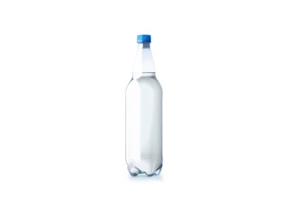 Plastic water bottle isolated on white background.