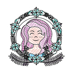 doodle pretty woman hairstyle with branches leaves and flowers