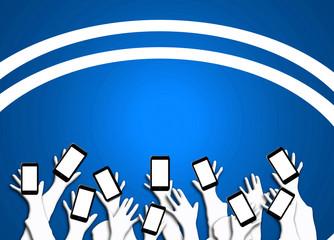 Smartphone, teléfonos, manos, brazos, fondo azul iluminado para escribir texto, personas
