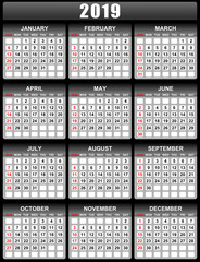 Vector calendar for 2019 year sundays in red first