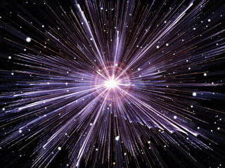 High-energy particles explosion.