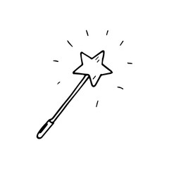 Hand Drawn magic wand doodle. Sketch style icon. Decoration element. Isolated on white background. Flat design. Vector illustration