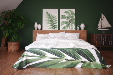 Green vintage bedroom interior, 3d render