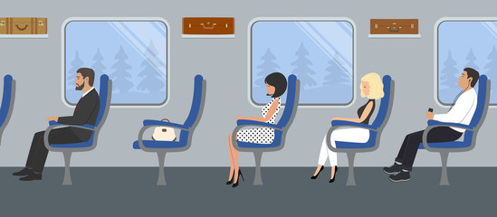 Passengers in the train car. Young women and men are sitting in blue armchairs and looking out the window. There are also suitcases on the shelves in the picture. Vector flat illustration