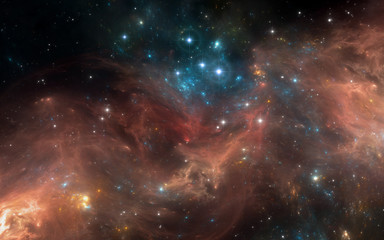 Space nebula with stars. For use with projects on science, research, and education.