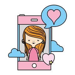 color woman with smartphone and heart inside chat bubble