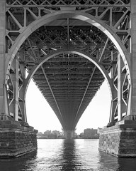 Black and White of the Williamsburg Bridge in New York on a hazy day