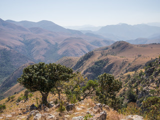Scenic view of mountains and dry landscape of Malolotja Nature Reserve, Swaziland, Southern Africa