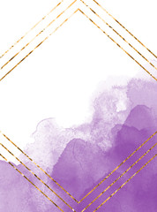 Purple watercolor texture Watercoloor stains Invitation card design witn golden foil frame
