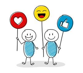 Happy stickmen holding social media icons. Vector.