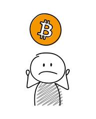 Sad stickman with hand drawn bitcoin icon. Vector.