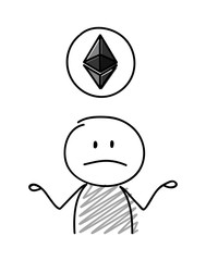 Confused stickman holding balloon with etherum icon. Vector.
