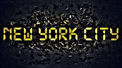 'NEW YORK CITY' written with small digits of an alarm clock