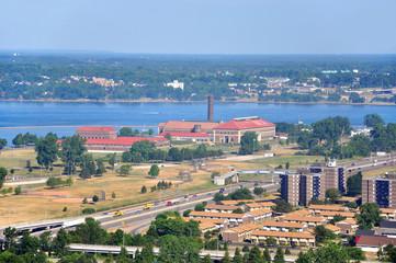 Lake Erie and Colonial Francis G. Ward Pumping Station, Buffalo, New York, USA.