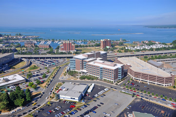 Lake Erie and Buffalo, viewed from Buffalo City Hall, New York, USA