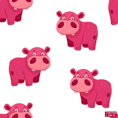 Seamless pattern with cartoon hippo.