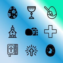 Vector icon set about easter with 9 icons related to group, rustic, building, little, april, stone, grass, finger, closeup and sacred