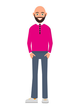 Happy bald and bearded man isolated on white background vector illustration. People of the character in a flat design. A handsome bald man with a beard in a pink shirt and trousers