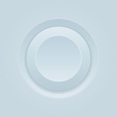 Push button. Round white plastic 3d icon