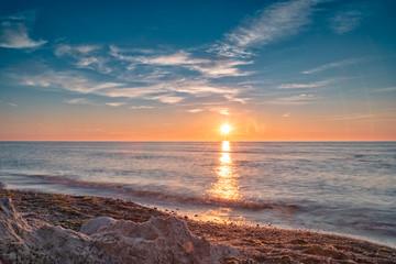 Sunset on the beach at Dranske on Rügen