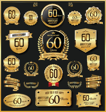 Anniversary retro vintage golden badges and labels vector 60 years