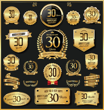 Anniversary retro vintage golden badges and labels vector 30 years