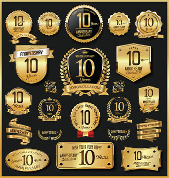 Anniversary retro vintage golden badges and labels vector 10 years
