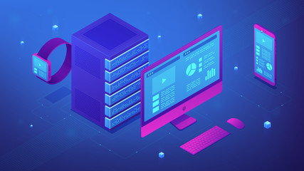 Isometric electronic devices in blue violet palette. Computer, smartphone, smartwatch and server as a concept of data synchronization, consistency and Public Key Servers. Vector 3d illustration.