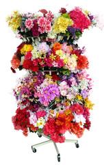 Colorful vibrant imitation flower display.