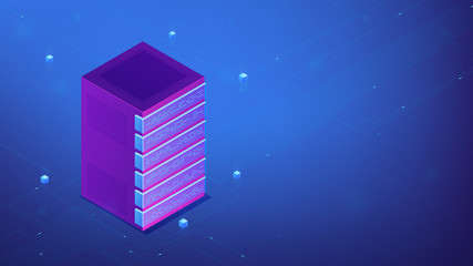 Isometric network server rack equipment concept. Secure server cabinets, open frame data center, cooling, installations rack equipment and rail kit in blue violet palette. Vector 3d illustration.