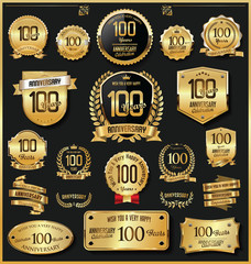 Anniversary retro vintage golden badges and labels vector 100 years