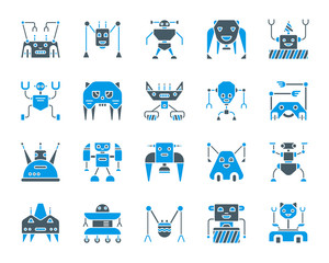 Robot simple color flat icons vector set