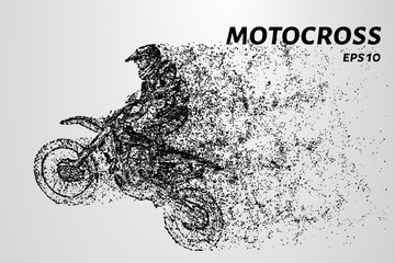 Motocross of particles. Motorcycle racer takes off over the track