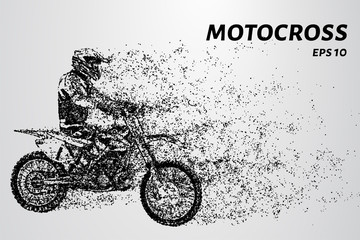 Motocross of particles. From motocross and tears off part of the wind
