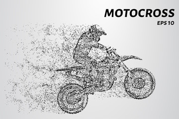Motocross of particles. Motocross consists of circles and dots. Motorcycle racer on dark background