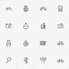Adventure line icon set with water flask, magnifier and photo camera