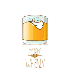 vector funny whiskey glass character isolated on white background. My name is whiskey vector concept. funky hipster alcohol character icon for bars label or menu