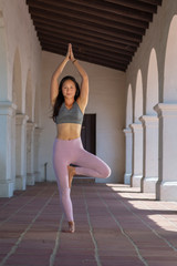 Athletic young woman practicing yoga outdoors, doing Tree Pose with hands above head
