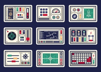 Different control panels, consoles, buttons and devices, radar for spacecraft