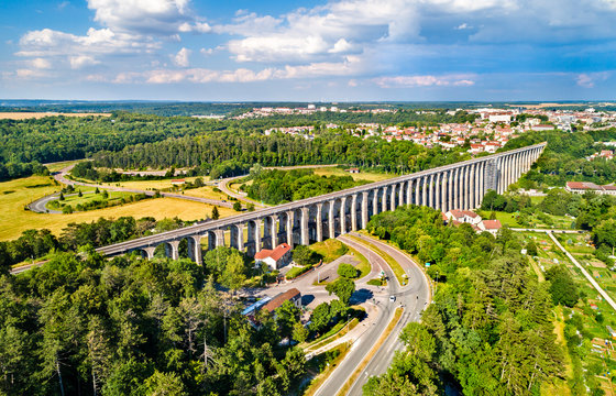 Aerial view of Chaumont Viaduct, a railway bridge in France