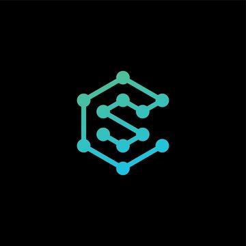 cs letter sc initial logo tech connection network vector icon