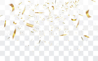 Realistic falling defocused golden confetti isolated on transparent checkered background.Vector illustration.