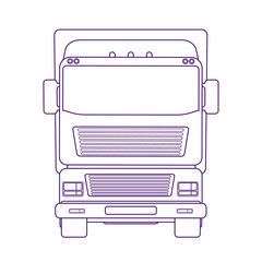 Lorry car front view. Truck for transportation various objects. Vector linear illustration.