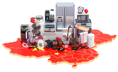 Map of China with home and kitchen appliances, 3D rendering
