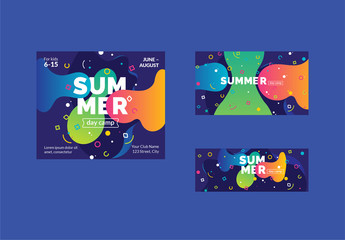 Colorful Abstract Social Media Cover and Post Layout Set