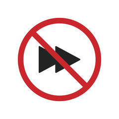 Do not turn right icon, isolated illustration on red orders