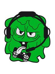 gamer zocken nerd geek headset controller konsole computer bazille virus bakterie ansteckend krank monster schleimig schleim ekelig horror halloween böse frech comic cartoon clipart