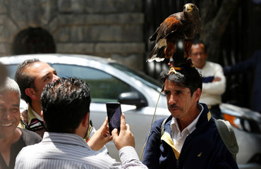 A man poses for a picture with an eagle on his head outside Mexico's president-elect Andres Manuel Lopez Obrador campaign headquarters in Mexico City
