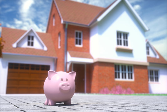 3D illustration. Little piggy bank on the sidewalk in front of the dream house.