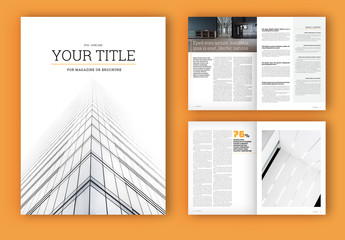 Magazine or Brochure Layout with Orange Accents